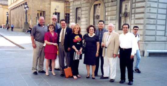 Dr. Manshadi with the delegates from Stockton in Parma Italy. Stockton is a sister-city with Parma Italy.